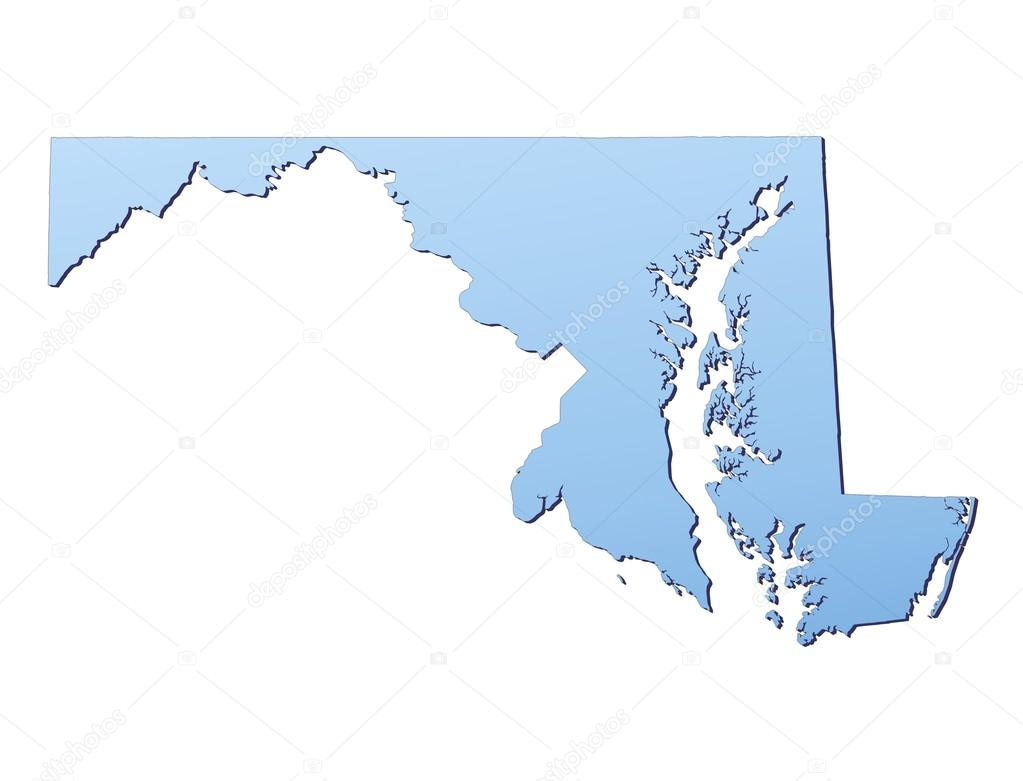 Maryland(USA) map filled with light blue gradient. High resolution. Mercator projection. — Stock fotografie #18650735