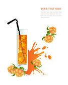 Glass of cloudberry juice — Wektor stockowy