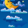 Yellow moon sleeping on clouds. — Vector de stock