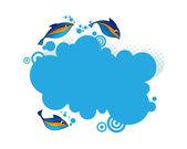 Blue frame with fish. — Vecteur