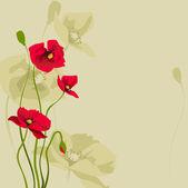 Red stylized poppy — Stock Vector
