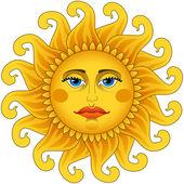 Big hot gold sun. — Stock Vector