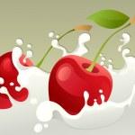 Milk splash with cherry — Stock Vector
