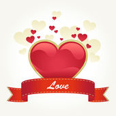 Valentine's day card with red heart — Stock Vector