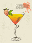 Hand drawn illustration of tropical cocktail. — Vetorial Stock