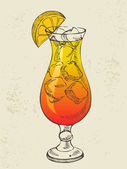 Cocktail tequila sunrise with ice. — Stock vektor