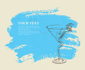 Tropical cocktail with mint on blue background — Vetorial Stock