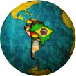 South american flags on globe map — Stock Photo #13825218