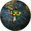 South american flags on globe map — ストック写真