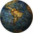 Foto Stock: South american flags on globe map
