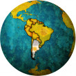 Argentina flag on globe map — Stock Photo