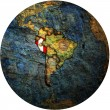 Peru flag on globe map — Stock Photo #13825382