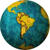 French guyana flag on globe map — Stock Photo