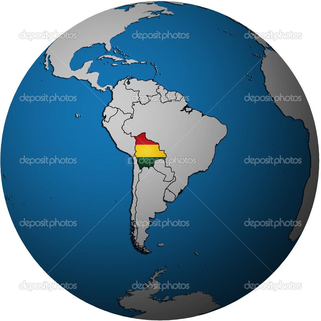 关于玻利维亚国旗与地图孤立在全球范围内的白色地图— photo by