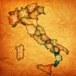 Map of italy with calabriregion — Stockfoto #21174943