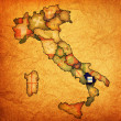 Map of italy with basilicatregion — Stockfoto #21175035