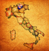 Mapa de italia con la región del tirol del sur — Foto de Stock