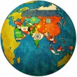 Stock Photo: Political map of asion globe map