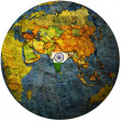 India on globe map — Stock Photo