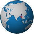 Myanmar on globe map — Stock Photo