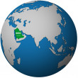 Saudi arabia on globe map — Stock Photo #25717117