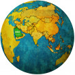 Stock Photo: Saudi arabia on globe map