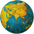 United arab emirates on globe map — Stock Photo