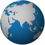 Vietnam on globe map — Stock Photo #25717983