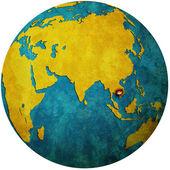 Cambodia on globe map — Stock Photo