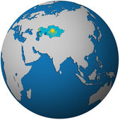 Kazakhstan on globe map — Stock Photo
