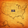 Kansas on map of usa — Stock Photo