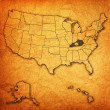 Kentucky on map of usa — Stock fotografie