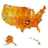 Arkansas on map of usa — Stock Photo