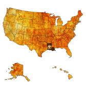 Luizjana na mapie miasta w usa — Zdjęcie stockowe