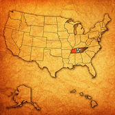 Tennessee on map of usa — Stock Photo