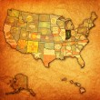 Indiana on map of usa — Stock Photo