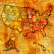 Iowa on map of usa — Foto Stock