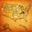 Kentucky on map of usa — Stockfoto