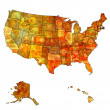 Massachusetts on map of usa — Stock Photo
