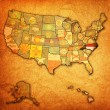 North carolina on map of usa — Stock Photo
