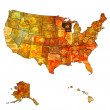 Wisconsin on map of usa — Stock Photo