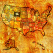 Wyoming on map of usa — Stock Photo