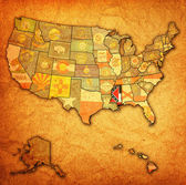 Mississippi on map of usa — Stock Photo
