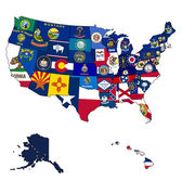 State flags on map of usa — Stock Photo