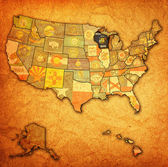 Wisconsin on map of usa — ストック写真