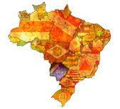 Mato grosso do sul state on map of brazil — Stock Photo