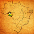 Rondonia state on map of brazil — Stock Photo