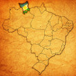 Roraima state on map of brazil — Stock Photo