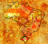 Rio grande do sul on map of brazil — Stockfoto
