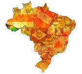 Acre state on map of brazil — Stok fotoğraf